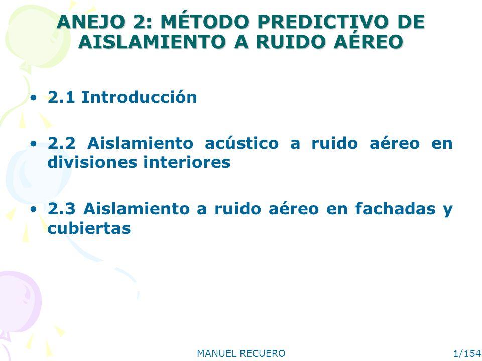 MANUEL RECUERO1/154 ANEJO 2: MÉTODO PREDICTIVO DE AISLAMIENTO A RUIDO AÉREO 2.1 Introducción 2.2 Aislamiento acústico a ruido aéreo en divisiones inte