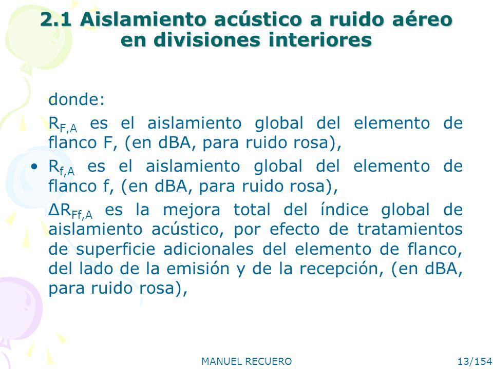 MANUEL RECUERO13/154 2.1 Aislamiento acústico a ruido aéreo en divisiones interiores donde: R F,A es el aislamiento global del elemento de flanco F, (