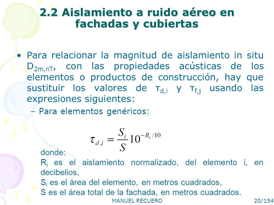 MANUEL RECUERO20/154 2.2 Aislamiento a ruido aéreo en fachadas y cubiertas Para relacionar la magnitud de aislamiento in situ D 2m,nT, con las propied
