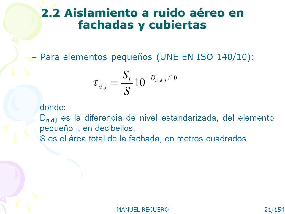 MANUEL RECUERO21/154 2.2 Aislamiento a ruido aéreo en fachadas y cubiertas –Para elementos pequeños (UNE EN ISO 140/10): donde: D n,d,i es la diferenc