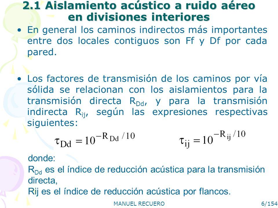 MANUEL RECUERO6/154 2.1 Aislamiento acústico a ruido aéreo en divisiones interiores En general los caminos indirectos más importantes entre dos locale