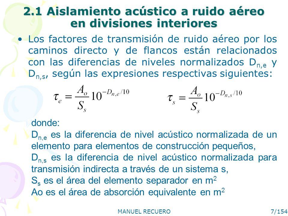 MANUEL RECUERO7/154 2.1 Aislamiento acústico a ruido aéreo en divisiones interiores Los factores de transmisión de ruido aéreo por los caminos directo