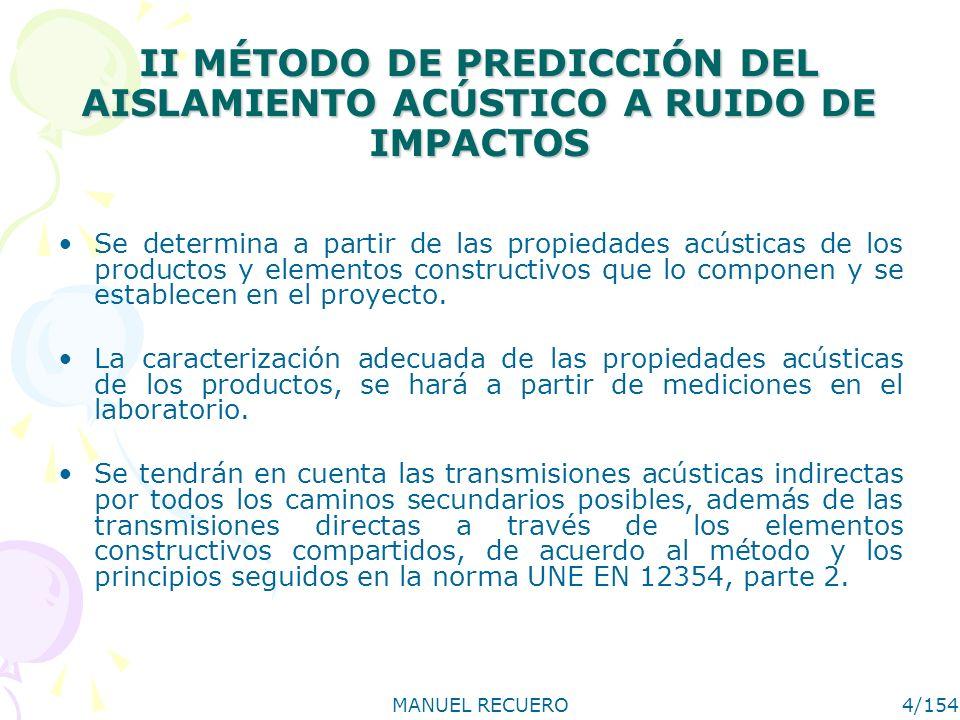 MANUEL RECUERO4/154 II MÉTODO DE PREDICCIÓN DEL AISLAMIENTO ACÚSTICO A RUIDO DE IMPACTOS Se determina a partir de las propiedades acústicas de los productos y elementos constructivos que lo componen y se establecen en el proyecto.