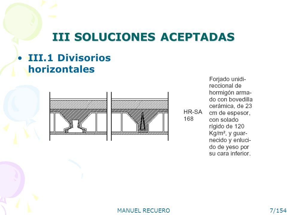 MANUEL RECUERO7/154 III SOLUCIONES ACEPTADAS III.1 Divisorios horizontales
