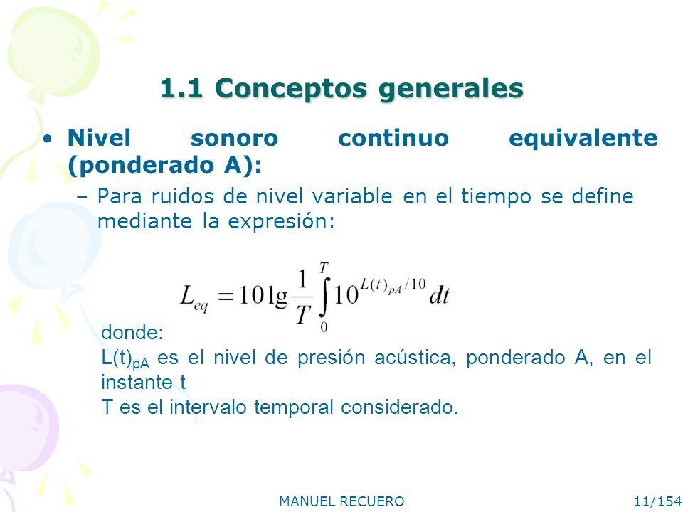 MANUEL RECUERO11/154 1.1 Conceptos generales Nivel sonoro continuo equivalente (ponderado A): –Para ruidos de nivel variable en el tiempo se define me