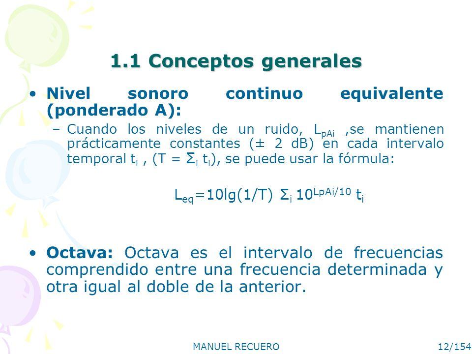 MANUEL RECUERO12/154 1.1 Conceptos generales Nivel sonoro continuo equivalente (ponderado A): –Cuando los niveles de un ruido, L pAi,se mantienen prác