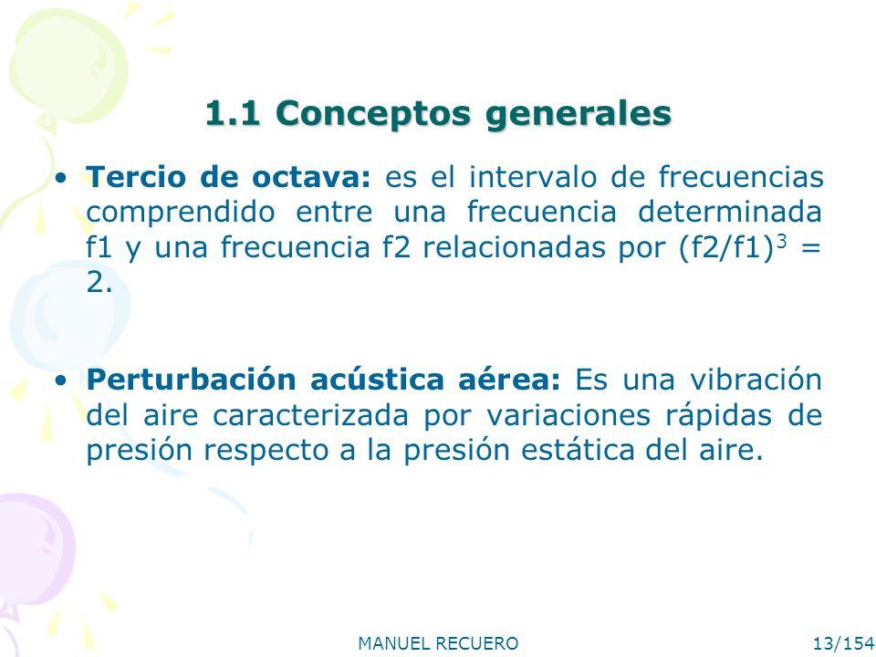MANUEL RECUERO13/154 1.1 Conceptos generales Tercio de octava: es el intervalo de frecuencias comprendido entre una frecuencia determinada f1 y una fr