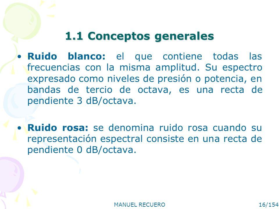 MANUEL RECUERO16/154 1.1 Conceptos generales Ruido blanco: el que contiene todas las frecuencias con la misma amplitud. Su espectro expresado como niv