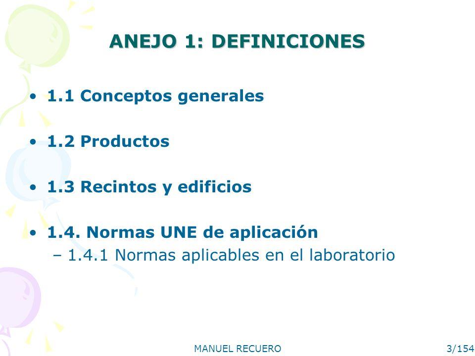 MANUEL RECUERO3/154 ANEJO 1: DEFINICIONES 1.1 Conceptos generales 1.2 Productos 1.3 Recintos y edificios 1.4. Normas UNE de aplicación –1.4.1 Normas a