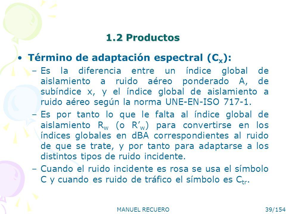 MANUEL RECUERO39/154 1.2 Productos Término de adaptación espectral (C x ): –Es la diferencia entre un índice global de aislamiento a ruido aéreo ponde