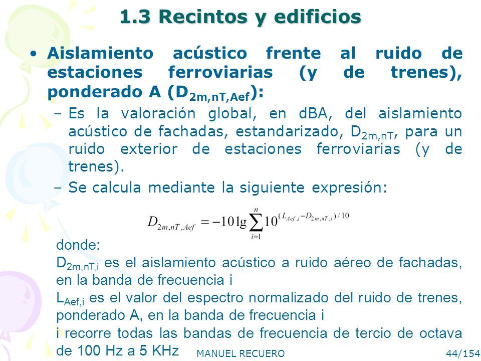 MANUEL RECUERO44/154 1.3 Recintos y edificios Aislamiento acústico frente al ruido de estaciones ferroviarias (y de trenes), ponderado A (D 2m,nT,Aef