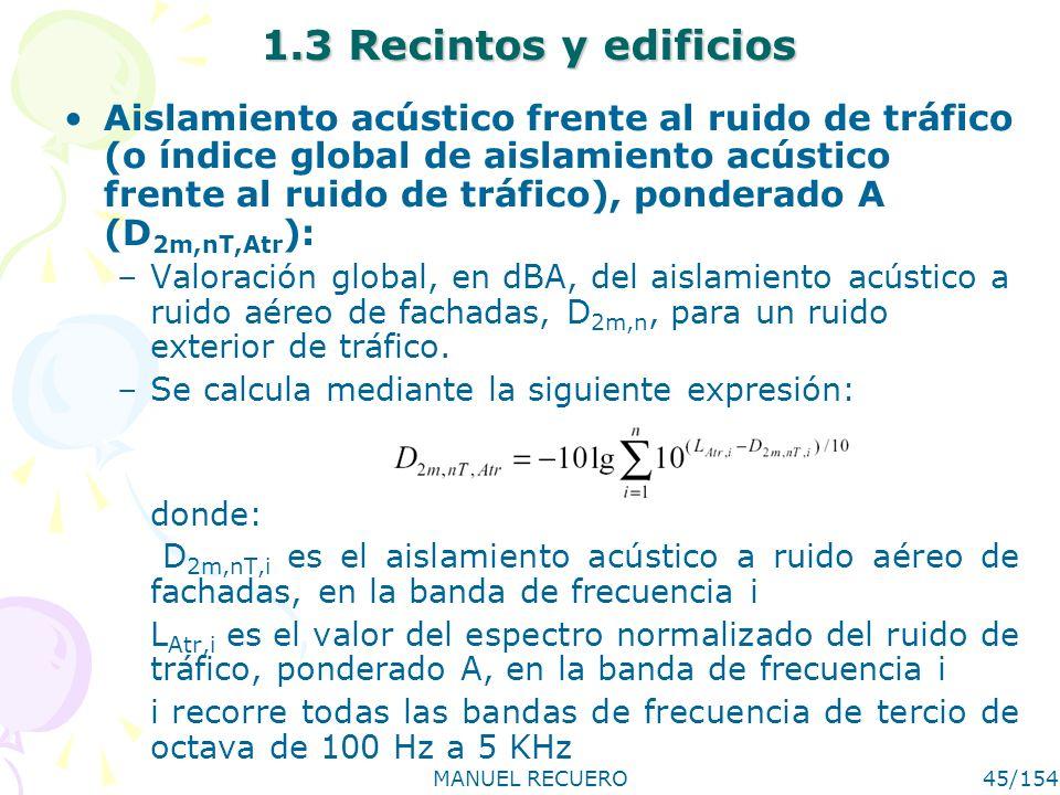 MANUEL RECUERO45/154 1.3 Recintos y edificios Aislamiento acústico frente al ruido de tráfico (o índice global de aislamiento acústico frente al ruido