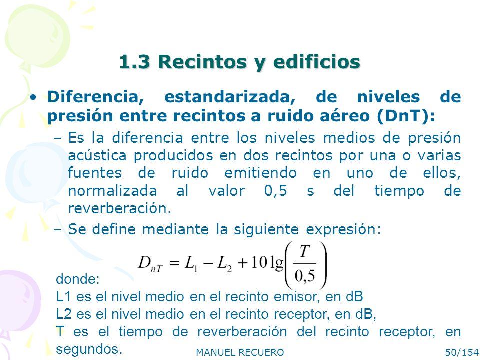 MANUEL RECUERO50/154 1.3 Recintos y edificios Diferencia, estandarizada, de niveles de presión entre recintos a ruido aéreo (DnT): –Es la diferencia e
