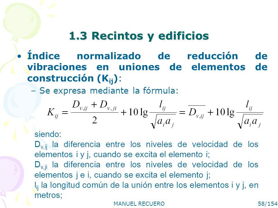 MANUEL RECUERO58/154 1.3 Recintos y edificios Índice normalizado de reducción de vibraciones en uniones de elementos de construcción (K ij ): –Se expr