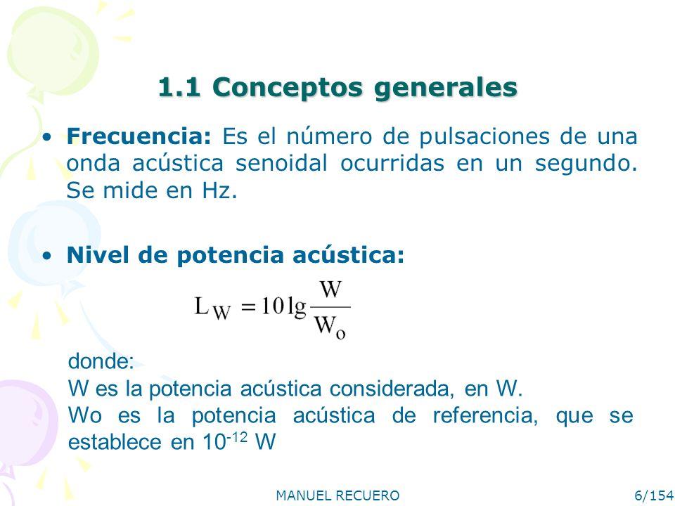 MANUEL RECUERO6/154 1.1 Conceptos generales Frecuencia: Es el número de pulsaciones de una onda acústica senoidal ocurridas en un segundo. Se mide en