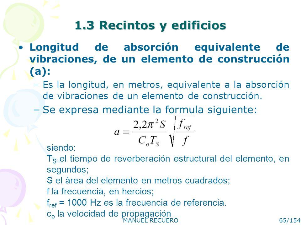 MANUEL RECUERO65/154 1.3 Recintos y edificios Longitud de absorción equivalente de vibraciones, de un elemento de construcción (a): –Es la longitud, e