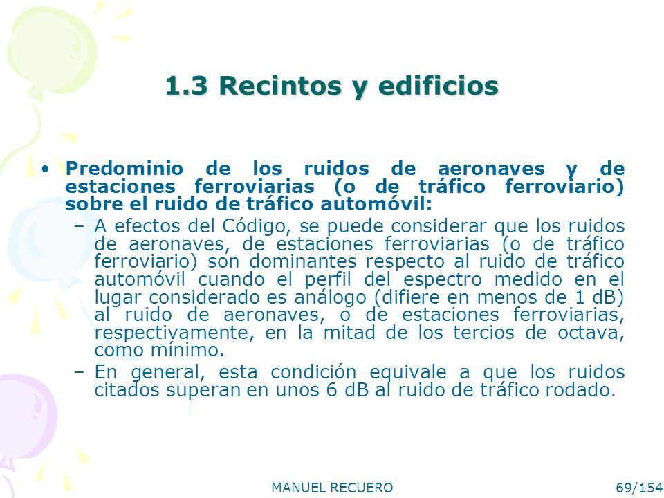 MANUEL RECUERO69/154 1.3 Recintos y edificios Predominio de los ruidos de aeronaves y de estaciones ferroviarias (o de tráfico ferroviario) sobre el r