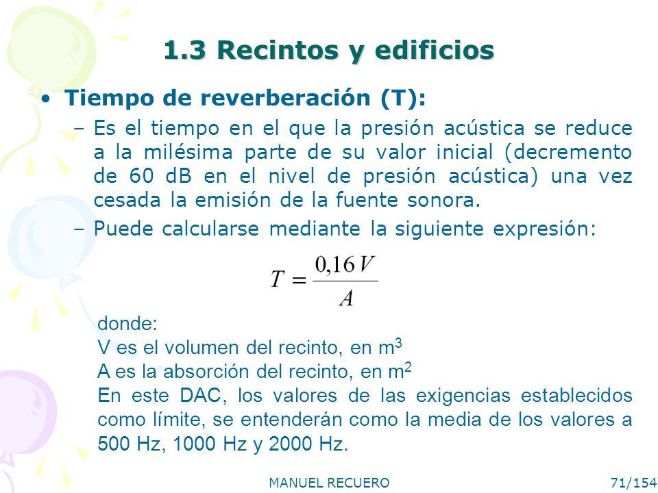 MANUEL RECUERO71/154 1.3 Recintos y edificios Tiempo de reverberación (T): –Es el tiempo en el que la presión acústica se reduce a la milésima parte d