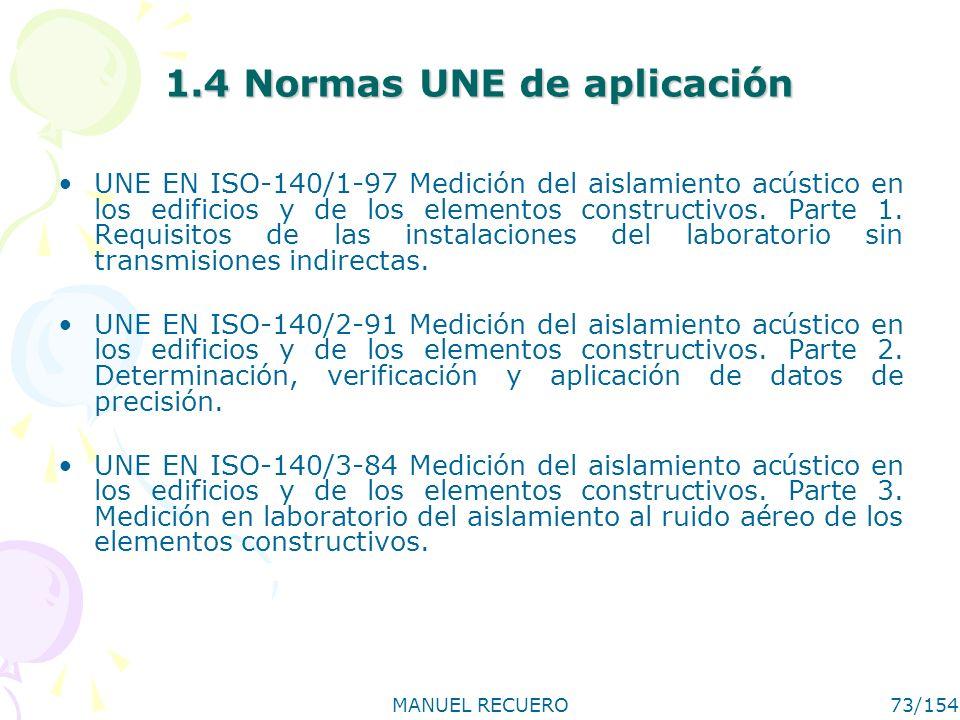 MANUEL RECUERO73/154 1.4 Normas UNE de aplicación UNE EN ISO-140/1-97 Medición del aislamiento acústico en los edificios y de los elementos constructi