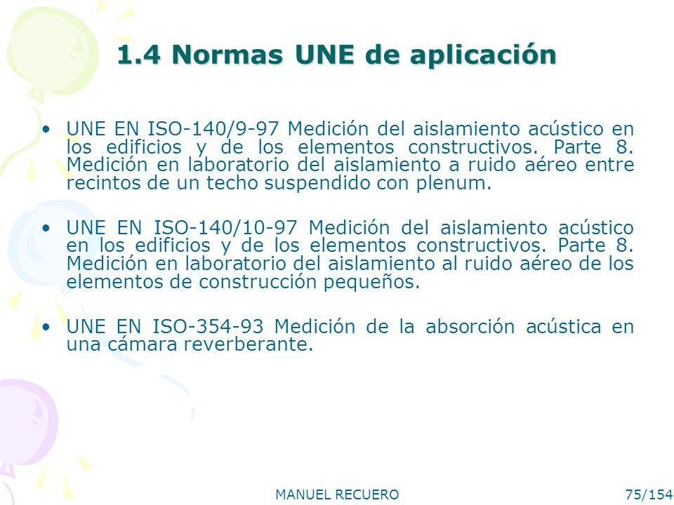 MANUEL RECUERO75/154 1.4 Normas UNE de aplicación UNE EN ISO-140/9-97 Medición del aislamiento acústico en los edificios y de los elementos constructi