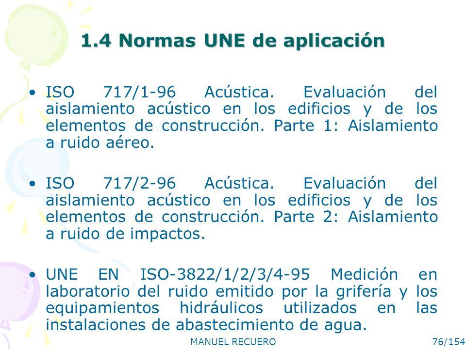 MANUEL RECUERO76/154 1.4 Normas UNE de aplicación ISO 717/1-96 Acústica. Evaluación del aislamiento acústico en los edificios y de los elementos de co
