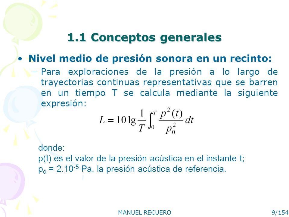 MANUEL RECUERO9/154 1.1 Conceptos generales Nivel medio de presión sonora en un recinto: –Para exploraciones de la presión a lo largo de trayectorias