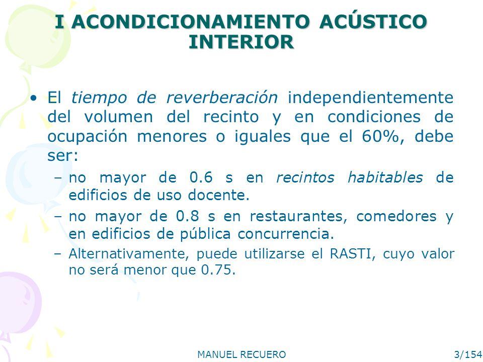 MANUEL RECUERO4/154 II MÉTODO DE PREDICCIÓN DEL TIEMPO DE REVERBERACIÓN Se hará mediante la fórmula de Sabine, a partir del volumen y de la absorción sonora del local.