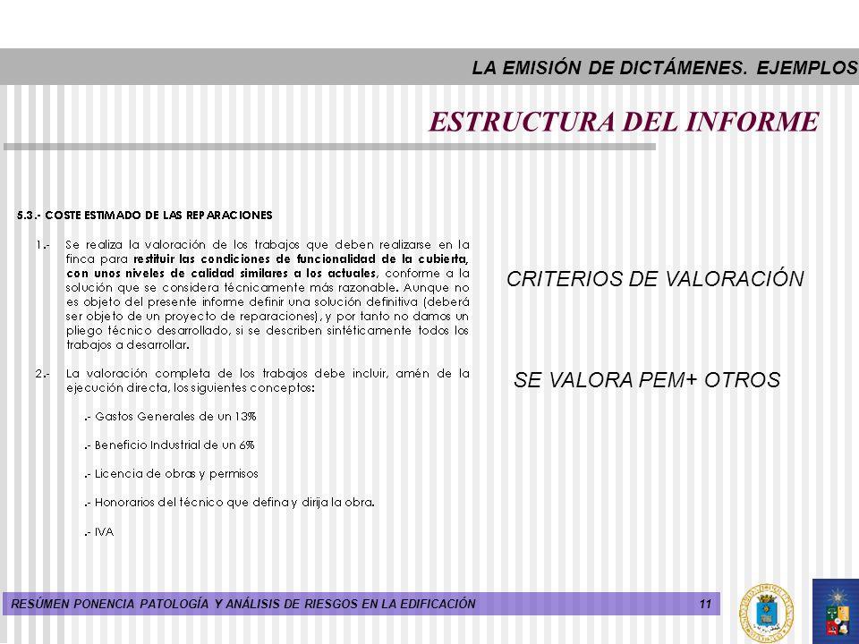 11RESÚMEN PONENCIA PATOLOGÍA Y ANÁLISIS DE RIESGOS EN LA EDIFICACIÓN ESTRUCTURA DEL INFORME CRITERIOS DE VALORACIÓN SE VALORA PEM+ OTROS LA EMISIÓN DE