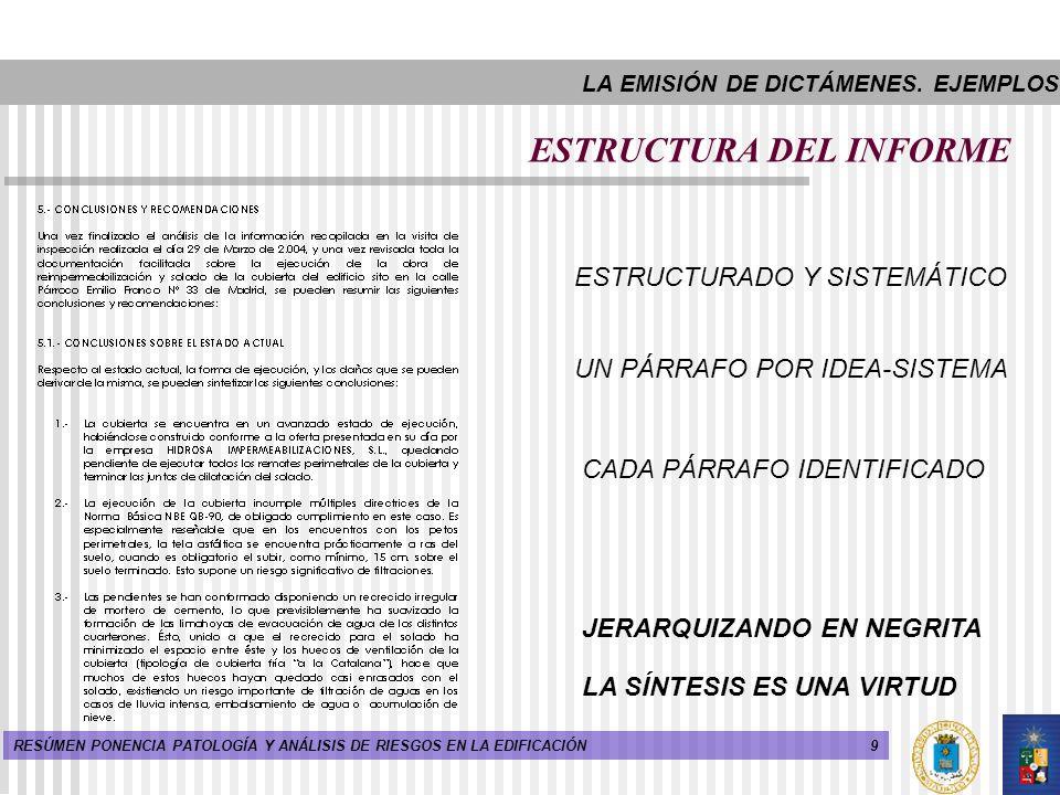 9RESÚMEN PONENCIA PATOLOGÍA Y ANÁLISIS DE RIESGOS EN LA EDIFICACIÓN ESTRUCTURA DEL INFORME ESTRUCTURADO Y SISTEMÁTICO JERARQUIZANDO EN NEGRITA LA SÍNT