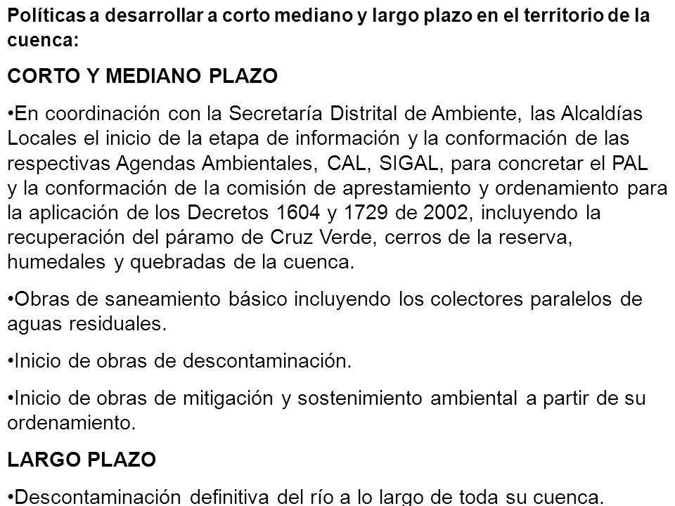 Políticas a desarrollar a corto mediano y largo plazo en el territorio de la cuenca: CORTO Y MEDIANO PLAZO En coordinación con la Secretaría Distrital