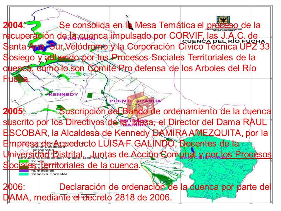 2004:Se consolida en la Mesa Temática el proceso de la recuperación de la cuenca impulsado por CORVIF, las J.A.C. de Santa Ana Sur,Velódromo y la Corp