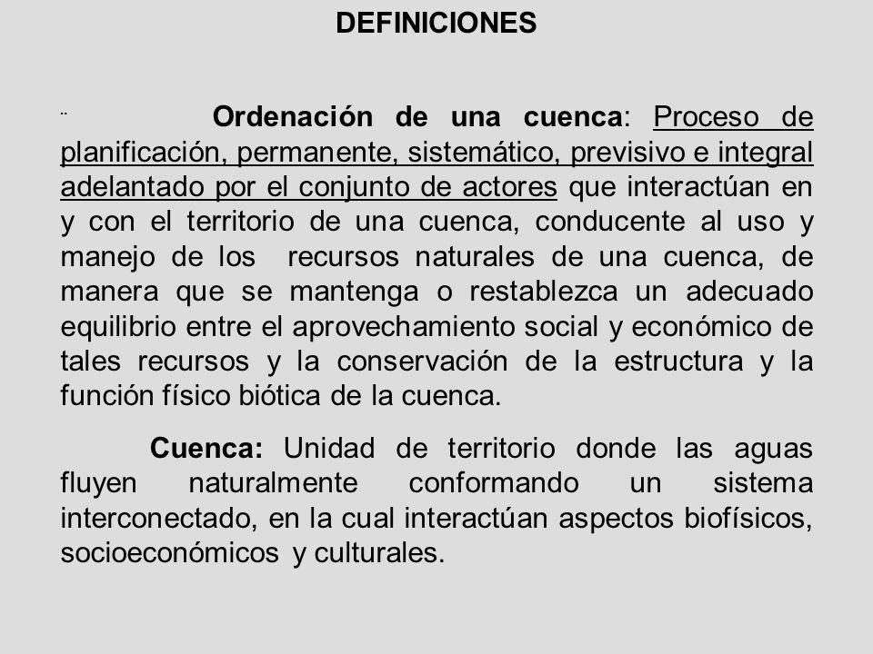 DEFINICIONES Ordenación de una cuenca: Proceso de planificación, permanente, sistemático, previsivo e integral adelantado por el conjunto de actores q