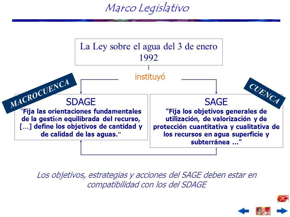 Marco Legislativo La Ley sobre el agua del 3 de enero 1992 SDAGE