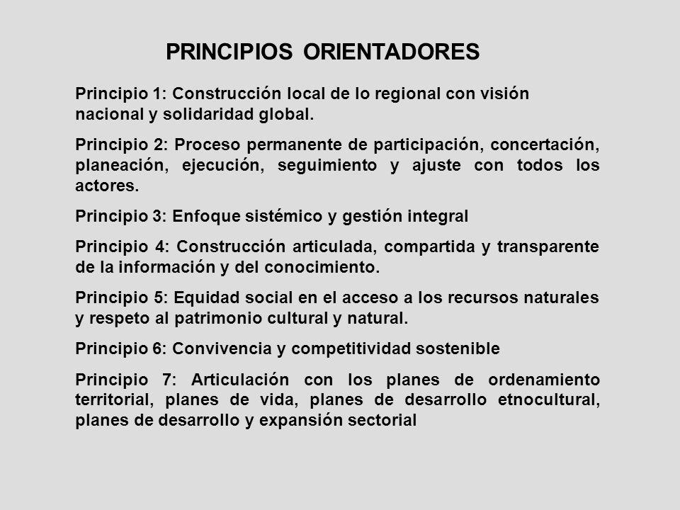 PRINCIPIOS ORIENTADORES Principio 1: Construcción local de lo regional con visión nacional y solidaridad global. Principio 2: Proceso permanente de pa