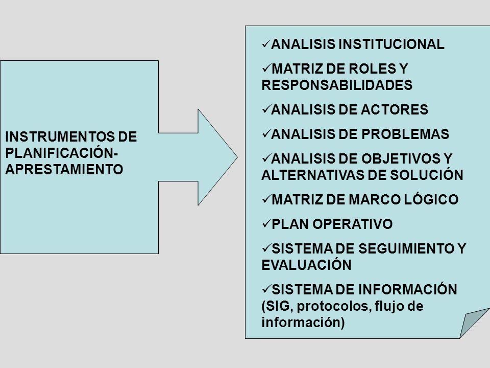 INSTRUMENTOS DE PLANIFICACIÓN- APRESTAMIENTO ANALISIS INSTITUCIONAL MATRIZ DE ROLES Y RESPONSABILIDADES ANALISIS DE ACTORES ANALISIS DE PROBLEMAS ANAL