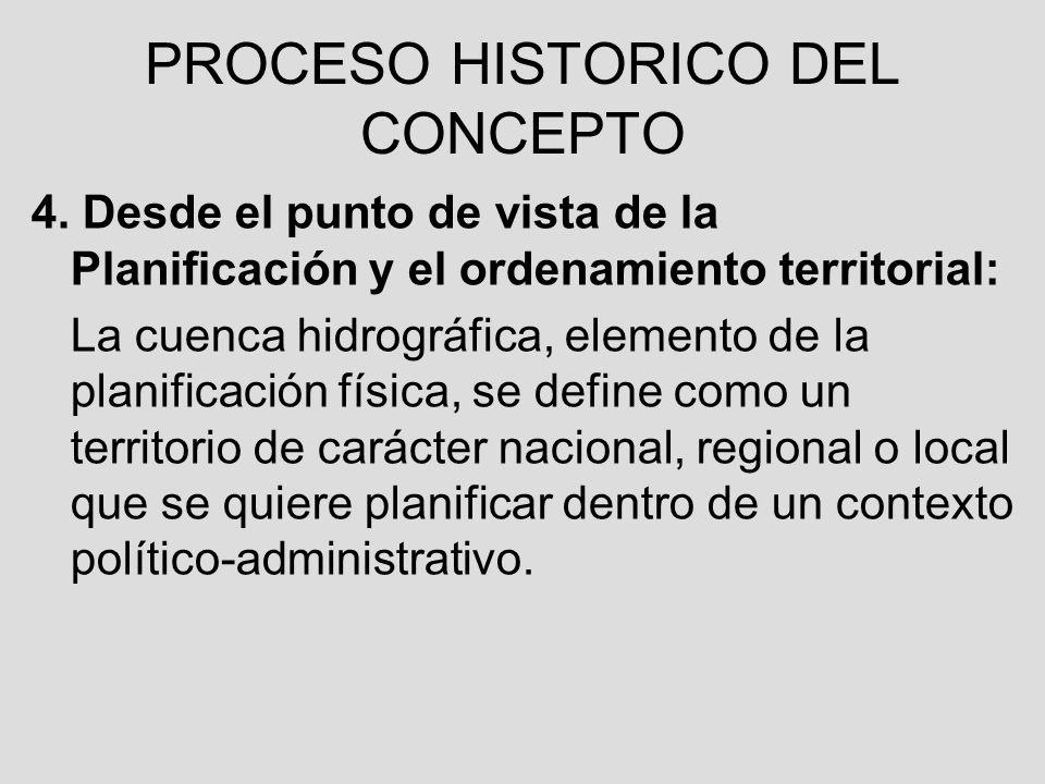4. Desde el punto de vista de la Planificación y el ordenamiento territorial: La cuenca hidrográfica, elemento de la planificación física, se define c