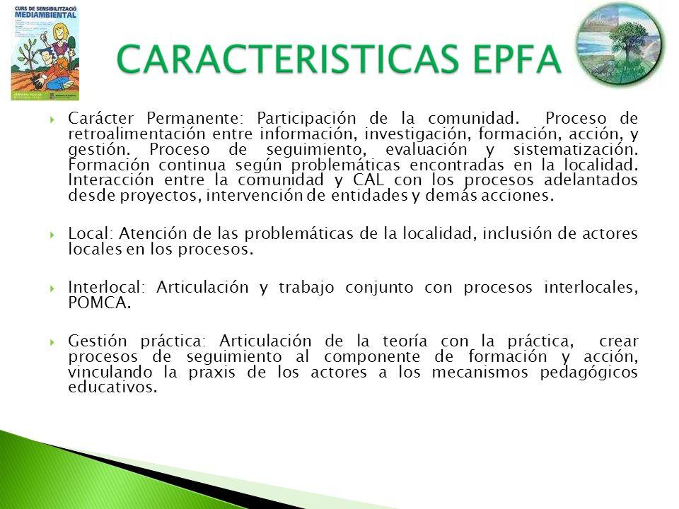 Carácter Permanente: Participación de la comunidad. Proceso de retroalimentación entre información, investigación, formación, acción, y gestión. Proce