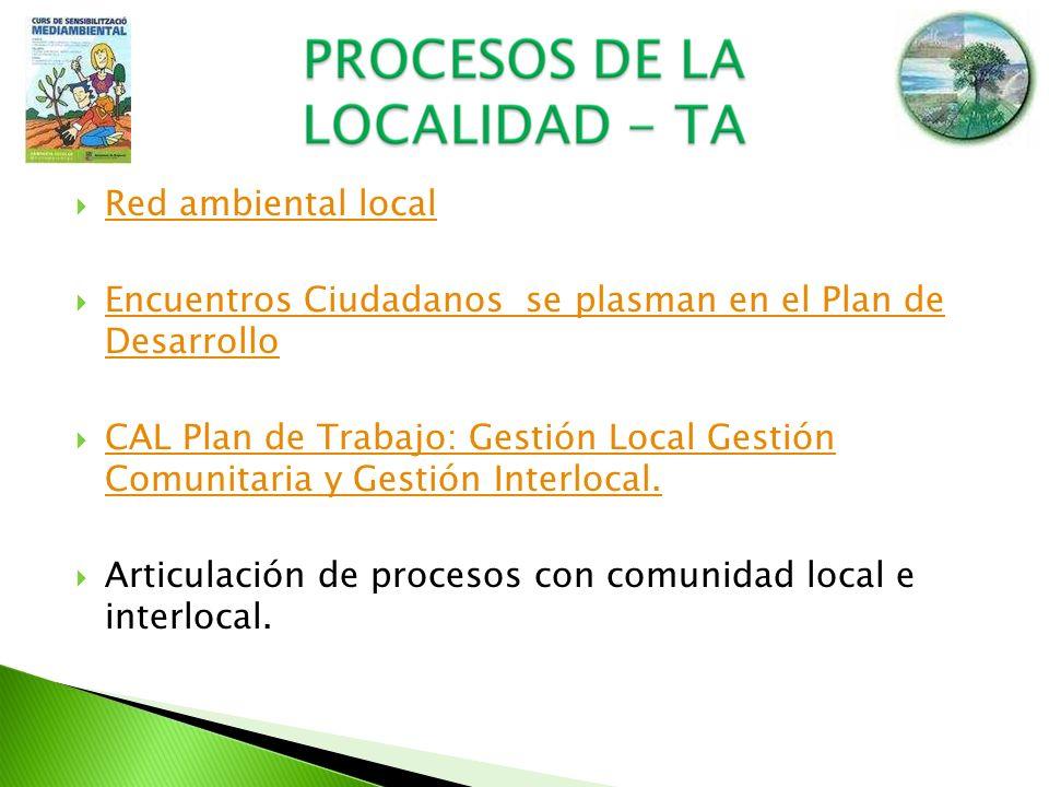 Red ambiental local Encuentros Ciudadanos se plasman en el Plan de Desarrollo Encuentros Ciudadanos se plasman en el Plan de Desarrollo CAL Plan de Tr
