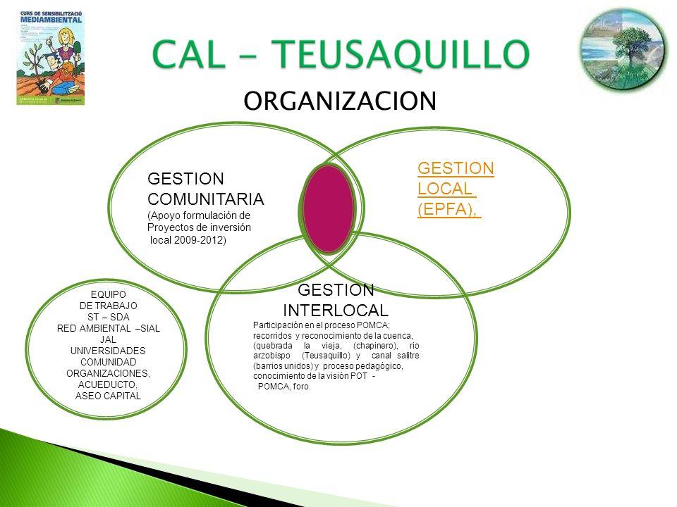 ORGANIZACION GESTION COMUNITARIA (Apoyo formulación de Proyectos de inversión local 2009-2012) GESTION LOCAL (EPFA), GESTION INTERLOCAL Participación