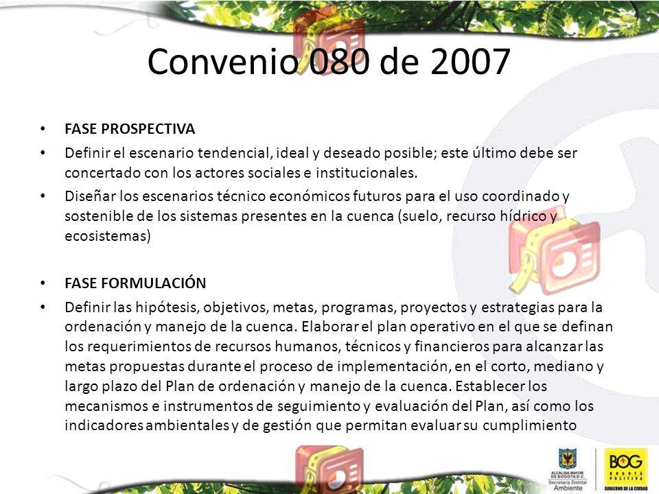 Convenio 080 de 2007 FASE PROSPECTIVA Definir el escenario tendencial, ideal y deseado posible; este último debe ser concertado con los actores social