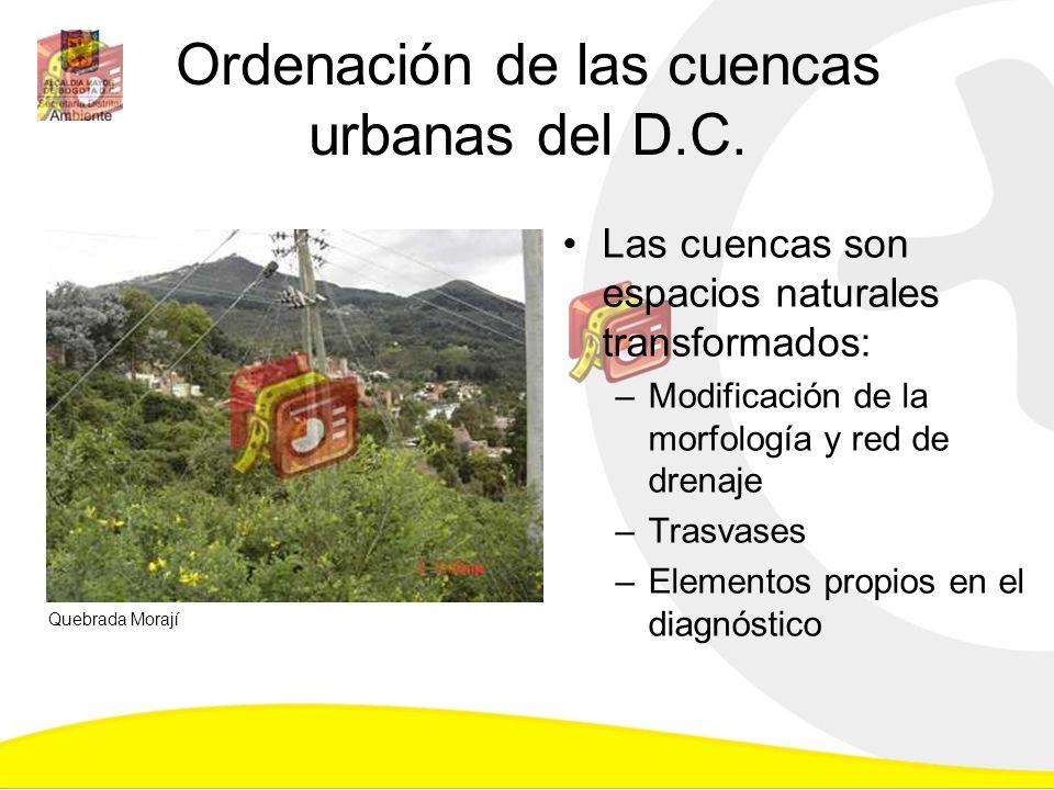 Ordenación de las cuencas urbanas del D.C. Las cuencas son espacios naturales transformados: –Modificación de la morfología y red de drenaje –Trasvase