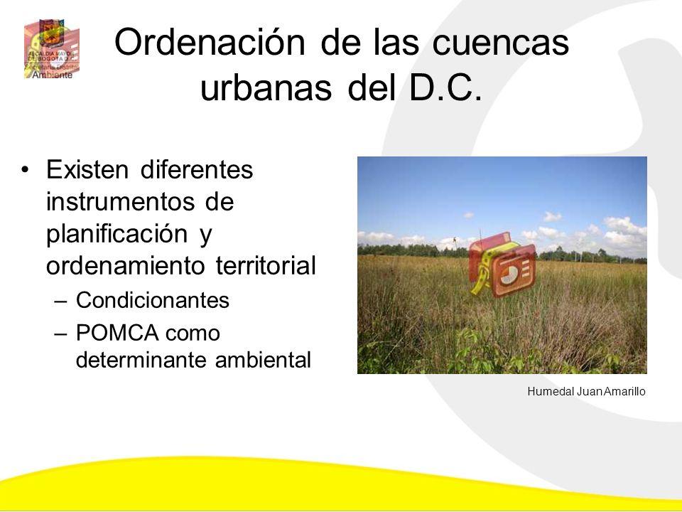 Ordenación de las cuencas urbanas del D.C. Existen diferentes instrumentos de planificación y ordenamiento territorial –Condicionantes –POMCA como det