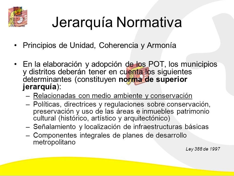 Jerarquía Normativa Principios de Unidad, Coherencia y Armonía En la elaboración y adopción de los POT, los municipios y distritos deberán tener en cu