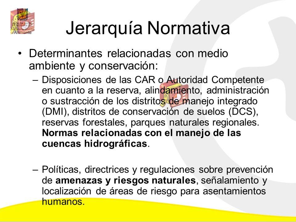 Jerarquía Normativa Determinantes relacionadas con medio ambiente y conservación: –Disposiciones de las CAR o Autoridad Competente en cuanto a la rese