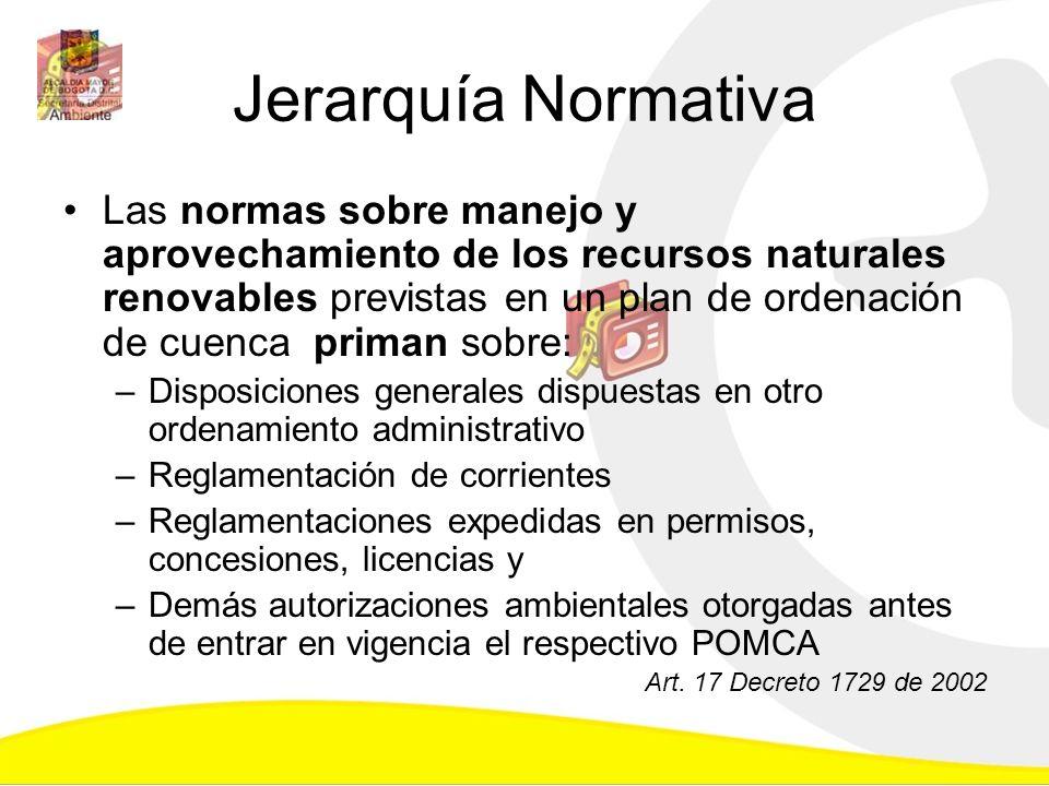 Jerarquía Normativa Las normas sobre manejo y aprovechamiento de los recursos naturales renovables previstas en un plan de ordenación de cuenca priman
