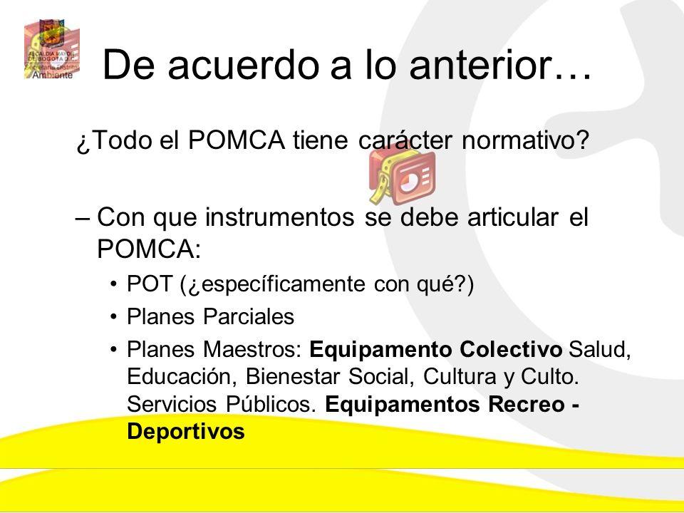 De acuerdo a lo anterior… ¿Todo el POMCA tiene carácter normativo? –Con que instrumentos se debe articular el POMCA: POT (¿específicamente con qué?) P