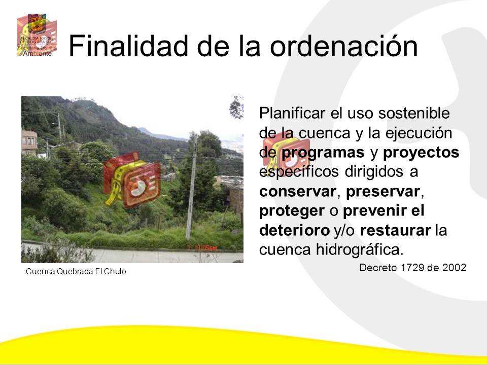 Finalidad de la ordenación Planificar el uso sostenible de la cuenca y la ejecución de programas y proyectos específicos dirigidos a conservar, preser