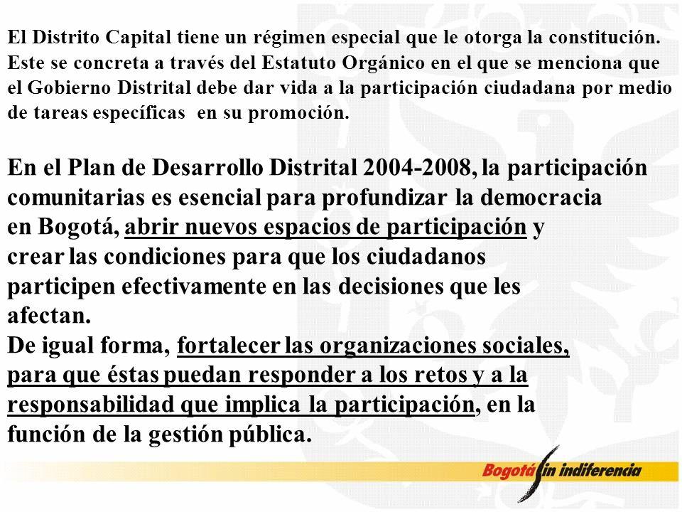 El Distrito Capital tiene un régimen especial que le otorga la constitución. Este se concreta a través del Estatuto Orgánico en el que se menciona que