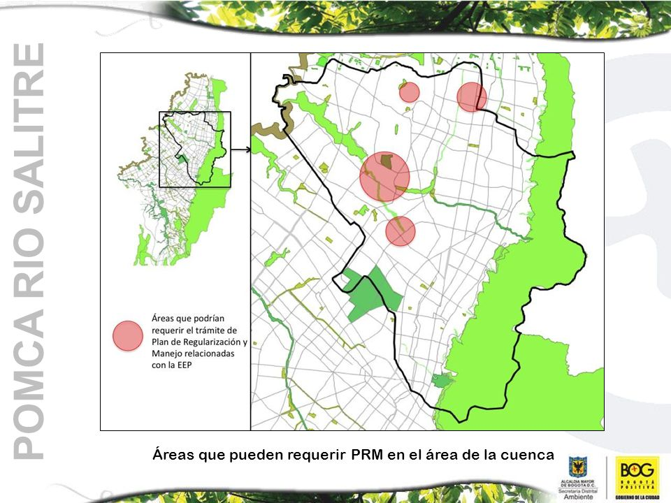 Áreas que pueden requerir PRM en el área de la cuenca POMCA RIO SALITRE