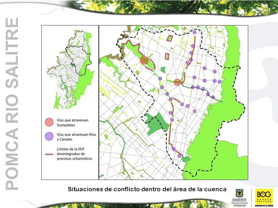 Situaciones de conflicto dentro del área de la cuenca POMCA RIO SALITRE